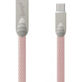 Beeyo Flat USB 2.0 Cable mini USB  male Ροζ 1m