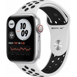 Apple Watch Nike S6 GPS + Cellular, 40mm Silver Aluminium Case with Pure Platinum/Black Nike Sport Band - Regular