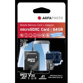AgfaPhoto MicroSDXC UHS-I   64GB High Speed C 10 U3 V30 + Adapter