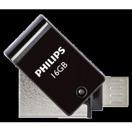 Philips 2 in 1 Black 16GB OTG microUSB + USB 2.0