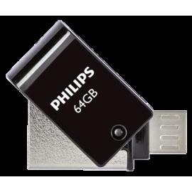 Philips 2 in 1 Black 64GB OTG microUSB + USB 2.0