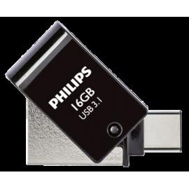 Philips 2 in 1 Black 16GB OTG USB C + USB 3.1