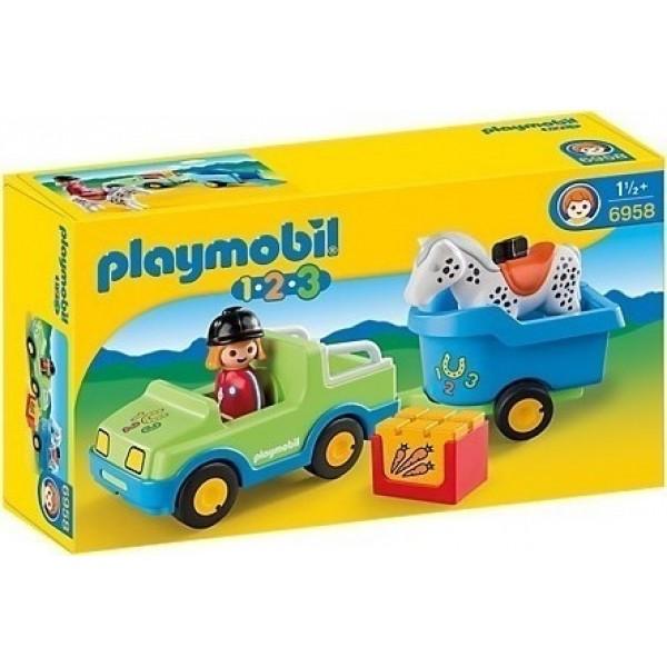Playmobil 1 2 3 Αυτοκίνητο & Τρέιλερ με Άλογο 6958