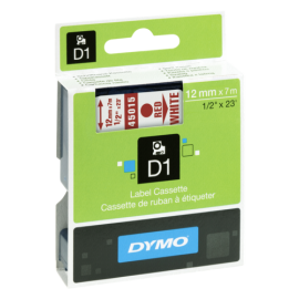 Dymo D1 12mm Red/White labels 45015