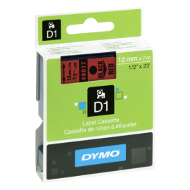 Dymo D1 12mm Black/Red  labels 45017