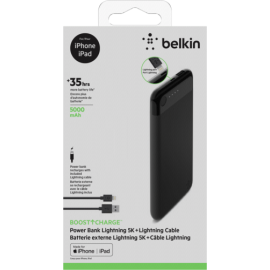 Belkin Boost Charge Power Bank 5K Light.Connector + Cable black