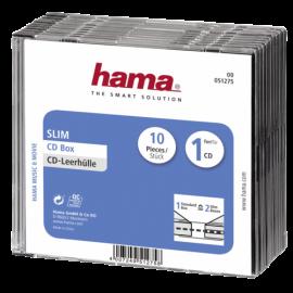 1x10 Hama CD-Slim Jewel Case clear/black   51275