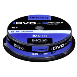1x10 Intenso DVD+R 8,5GB 8x Speed, Double Layer Cakebox