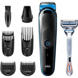 Braun 7-in-1 Trimmer MGK3242 Men Beard Trimmer, Face Trimmer & Hair Clipper, Black/Blue