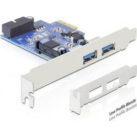 DeLock Κάρτα PCIe σε 2 εξωτερικές θύρες USB 3.0 και 1 εσωτερική